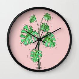 Monstera deliciosa green version Wall Clock