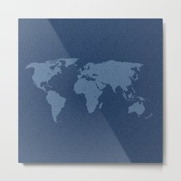 Denim Map Metal Print