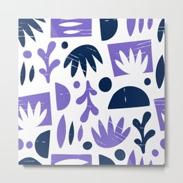 Abstract Blue Purple  Shapes Collages Metal Print