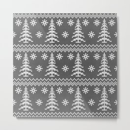 Stitched Evergreens in Charcoal Metal Print
