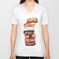 donuts V-neck T-shirts featuring Donuts! by Sam Luotonen