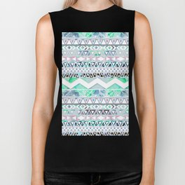Teal Girly Floral White Abstract Aztec Pattern Biker Tank