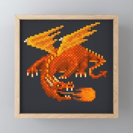 Pixel Fiery Dragon Framed Mini Art Print