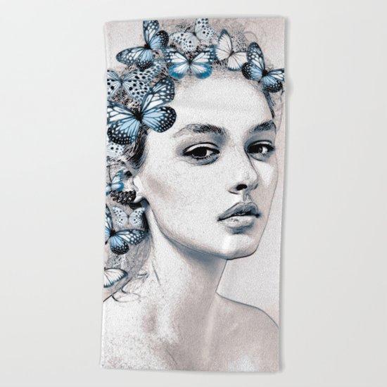 Woman with butterflies 2 Beach Towel
