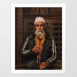 nepali old man Art Print