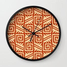 Ikat Aztec Tribal - Mandarin and Light Orange Wall Clock