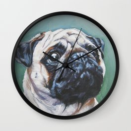 PUG dog art portrait from an original painting by L.A.Shepard Wall Clock