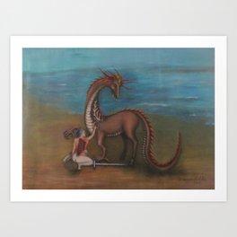 Dragon and Battle Art Print