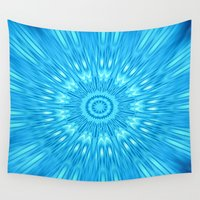 turquoise Wall Tapestries featuring turquoisE Mandala Expolosion by 2sweet4words Designs