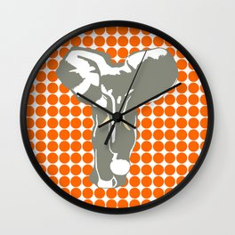 Tangerine Safari Dot with Pop Art Elephant Wall Clock