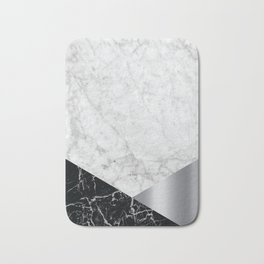 Geometric White Marble - Black Granite & Silver #230 Bath Mat