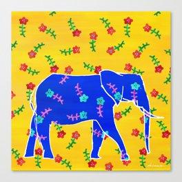 Elephant - blue Canvas Print