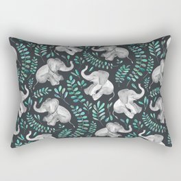 Laughing Baby Elephants – emerald and turquoise Rectangular Pillow