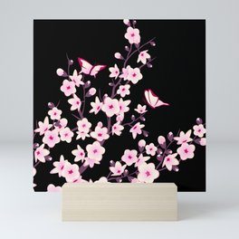 Cherry Blossoms Pink Black Mini Art Print
