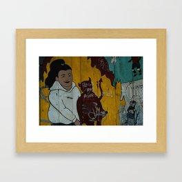 girl with devil Framed Art Print