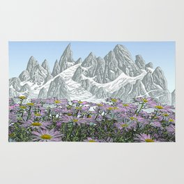 PURPLE DAISIES TALL MOUNTAIN PEN DRAWING PHOTO HYBRID Rug