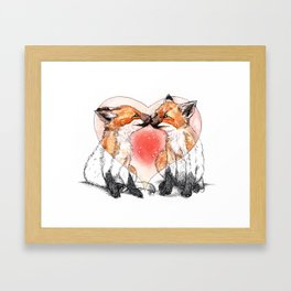baby fox love Framed Art Print