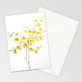 yellow Oncidium Orchid watercolor Stationery Cards