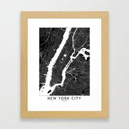 New York City Black And White Map Framed Art Print
