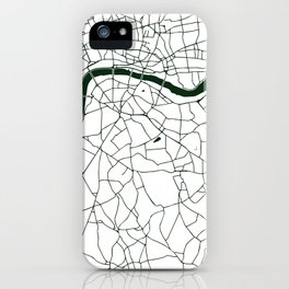 London White on Green Street Map iPhone Case