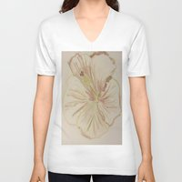hibiscus V-neck T-shirts featuring Hibiscus by bluegreybooth