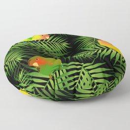 Lovebird Parrots in Green Palm Leaves on Black Floor Pillow