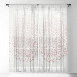 Rose gold mandala and grey marble Sheer Curtain
