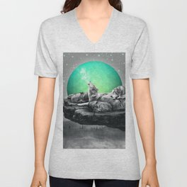 Echoes of a Lullaby / Geometric Moon Unisex V-Neck