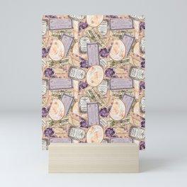 Vintage Labels in Purple + Peach Mini Art Print