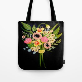 Floral Bouquet on Black Background Tote Bag