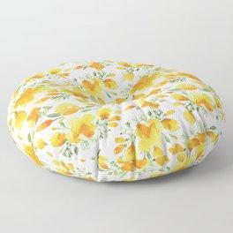 Watercolor california poppies bouquet Floor Pillow