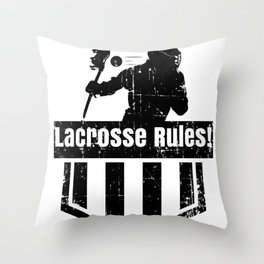 Lacrosse Rules! LAX Sport G.O.A.T Lacrosse Player Lacrosse Game ReLAX Steeze Throw Pillow
