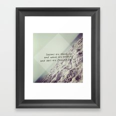 Seasons are changing and waves are crashing and stars are falling for us. Framed Art Print