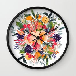 Autumn watercolor bouquet Wall Clock