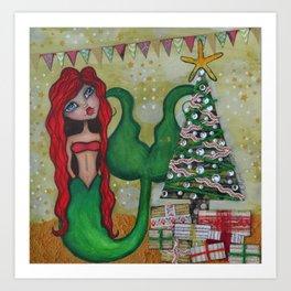 Chrismas Mermaid 2015 Art Print