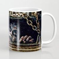 evil dead Mugs featuring Stay Out of the Basement: Evil Dead by Joe Misrasi
