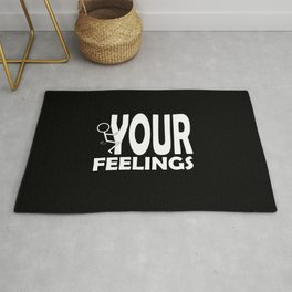 Fuck Your Feelings Humping Stickman White Lettering Typography Rug