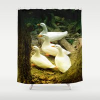 duck Shower Curtains featuring duck by gzm_guvenc