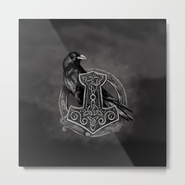 Mjolnir - The hammer of Thor and raven Metal Print
