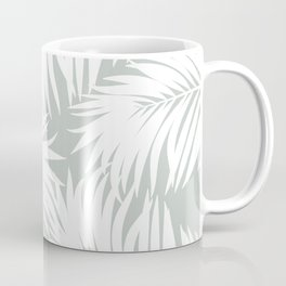 Palm Tree Fronds White on Rainwashed Maui Hawaii Tropical Graphic Design Coffee Mug