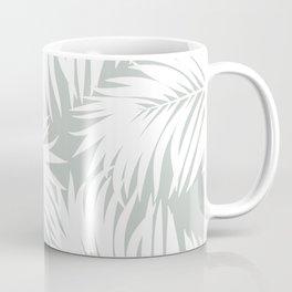 Palm Tree Fronds White on Rainwashed Maui Hawaii Tropical Graphic Design Coffee Mug