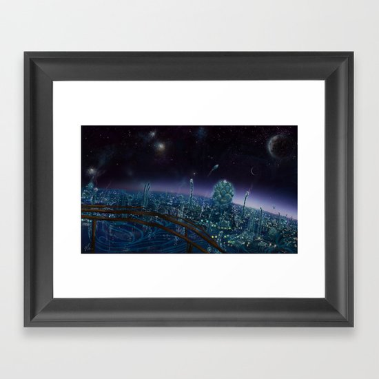 Living On Antaries - cityscape photoshop painting of alien world Framed Art Print