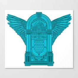 Vintage Flying Illuminati Jukebox Blue Canvas Print