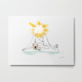 Meditating with George the Frenchie Metal Print