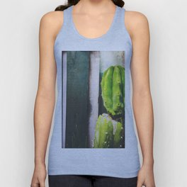 green cactus with green and white wood wall background Unisex Tank Top