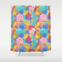 Glitter and Floral Pattern Shower Curtain