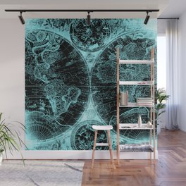Antique World Map Turquoise Teal Blue Green Wall Mural