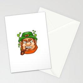 Leprechaun Face Smoking Pipe Shamrock Flying Stationery Cards