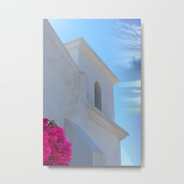 Architectural Detail of White Stucco Colonial Church in Arizona Metal Print