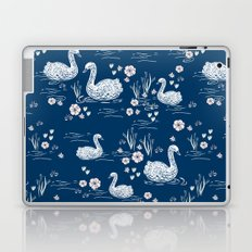 Swans painting cute girly trend cell phone case with swans pattern florals hand painted blue Laptop & iPad Skin